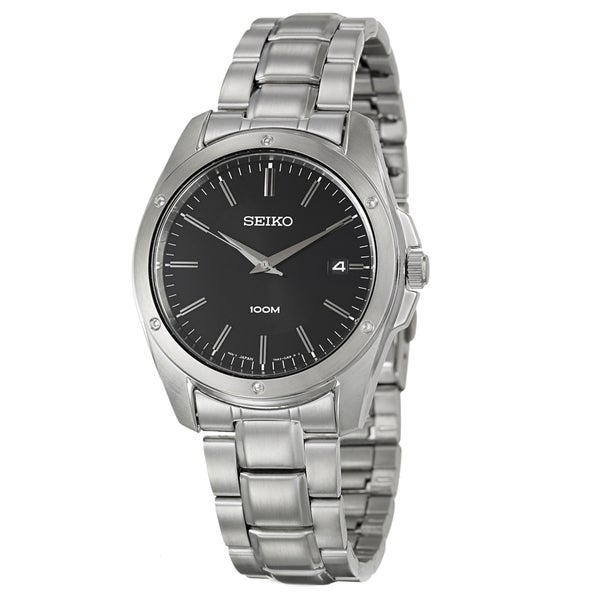 Seiko Men's 'Bracelet' Stainless Steel Black Dial Watch