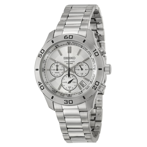 Seiko Men's 'Chronograph' Stainless Steel/ Tachymeter Bezel Watch