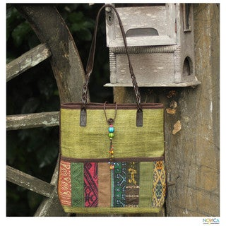 Leather and Cotton 'Lime Rhythm' Shoulder Bag (Thailand)