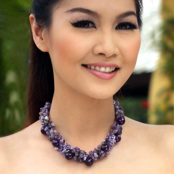 Handcrafted Sterling Silver Amethyst Gush Purple Cluster Necklace (Thailand)