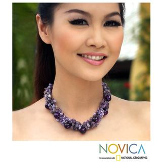 Amethyst &#39;Gush&#39; Cluster Necklace (Thailand)