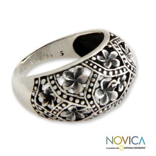 Sterling Silver 'Frangipani Mystique' Ring (Indonesia)