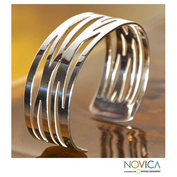 Sterling Silver 'Savage Tiger' Cuff Bracelet (Mexico)
