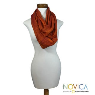 Cotton 'Orange Infinity' Circular Scarf (Guatemala)