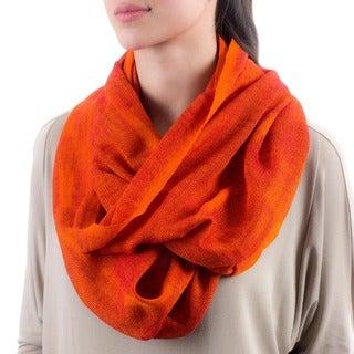 Cotton 'Orange Infinity' Circular Scarf (Guatemala)