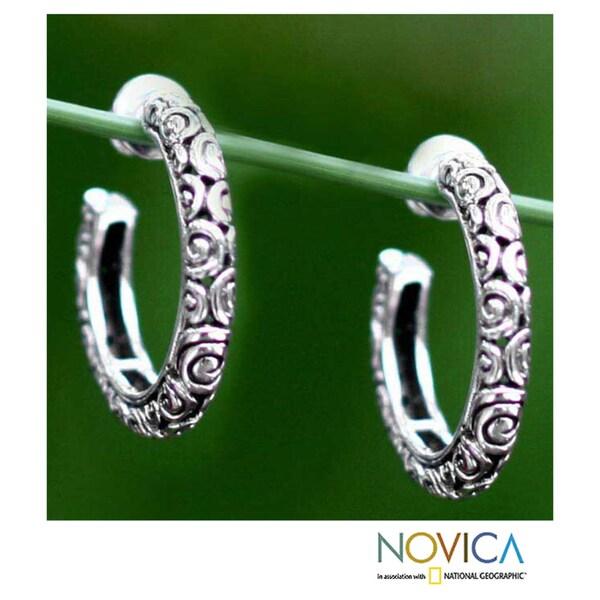 Sterling Silver 'Cloud Hoop' Earrings (Indonesia)