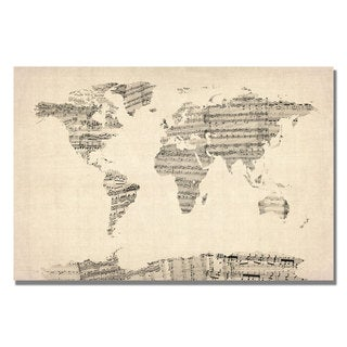 Michael Tompsett 'Old Sheet Music World Map' Canvas Art