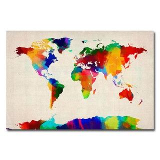 Michael Tompsett 'Sponge Painting World Map' Canvas Art