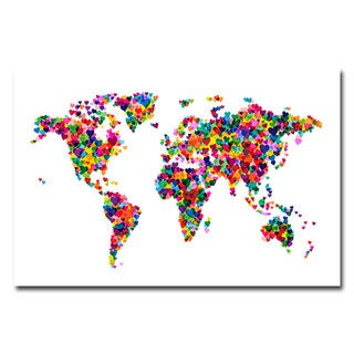 Michael Tompsett 'Love & Hearts World Map' Canvas Art