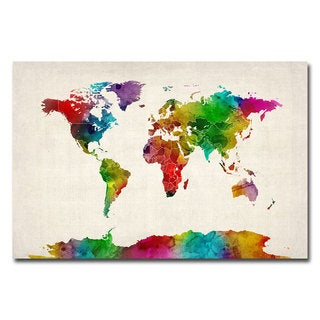 Michael Tompsett 'Watercolor World Map II' Canvas Art