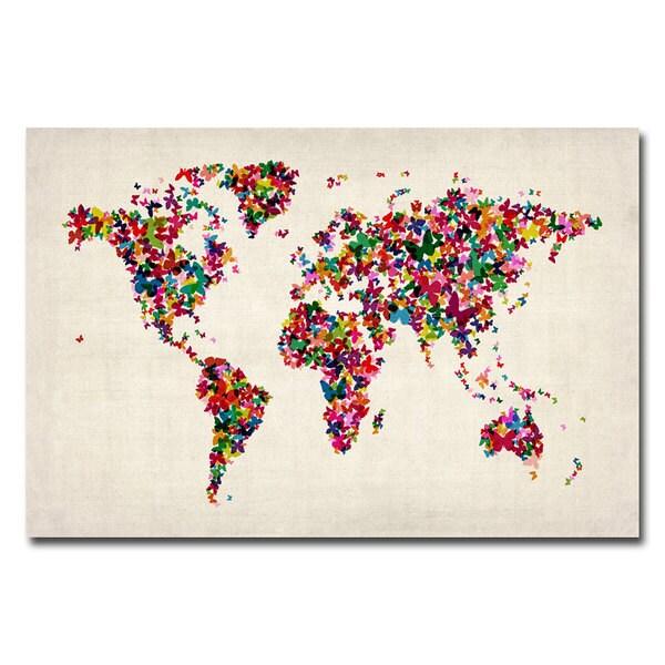 Michael Tompsett 'Butterflies World Map' Canvas Art