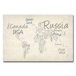 Michael Tompsett 'Typography World Map' Canvas Art