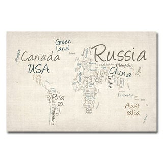 Michael Tompsett 'Typography World Map' Canvas Art
