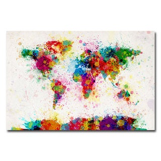 Michael Tompsett 'Paint Splashes World Map' Canvas Art