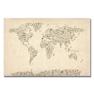 Michael Tompsett 'Music Note World Map' Canvas Art