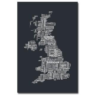 Michael Tompsett 'UK - Cities Text Map II' Canvas Art