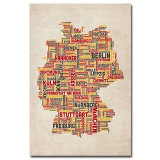 Michael Tompsett 'Germany - Cities Text Map' Canvas Art