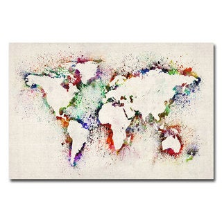 Michael Tompsett 'World Map - Paint Splashes' Medium Canvas Art