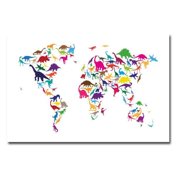 Michael Tompsett 'Dinosaur World Map' Canvas Art
