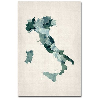 Michael Tompsett 'Italy Watercolor Map' Canvas Art