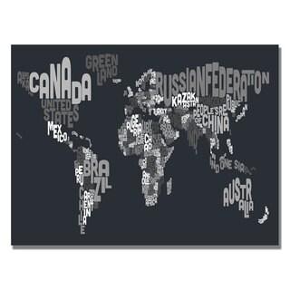 Michael Tompsett 'Font World Map VII' Canvas Art
