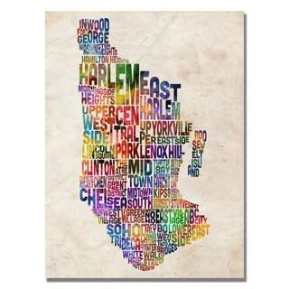 Michael Tompsett 'Manhatan Typography Map' Canvas Art