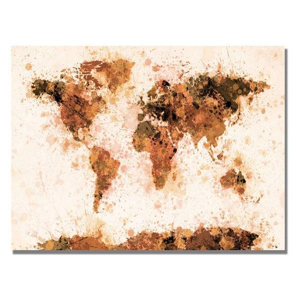Michael Tompsett 'Bronze Paint Splash World Map' Canvas Art.