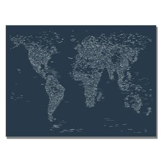 Michael Tompsett 'Font World Map VI' Canvas Art