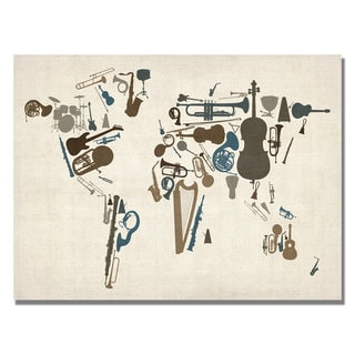 Michael Tompsett 'Instument World Map' Canvas Art