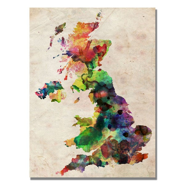 Michael Tompsett 'UK Watercolour Map' Canvas Art