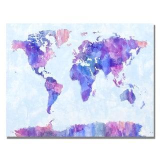 Michael Tompsett 'Watercolor World Map IV' Canvas Art