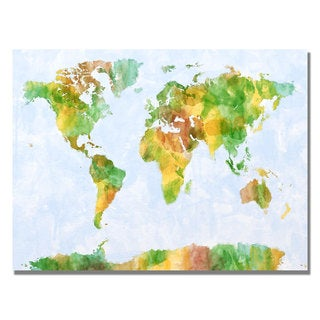 Michael Tompsett 'Watercolor World Map III' Canvas Art