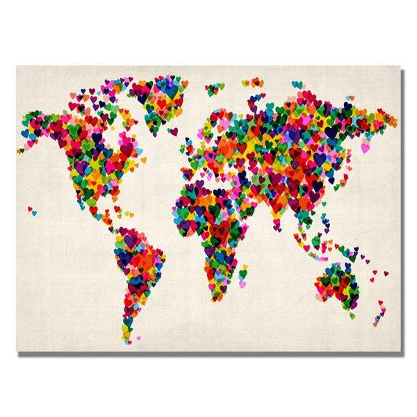 Michael Tompsett 'Hearts World Map' Canvas Art