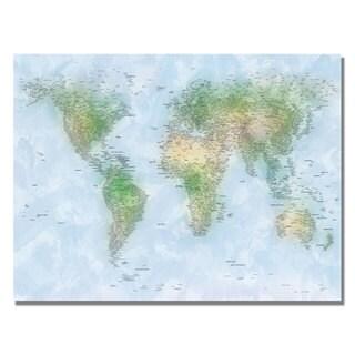 Michael Tompsett 'Watercolor Cities World Map' Canvas Art