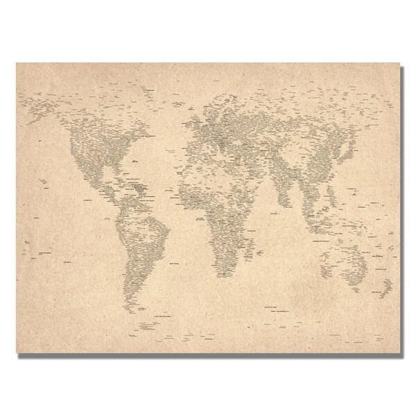 Michael Tompsett 'World Map of Cities' Canvas Art