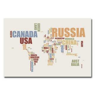 Michael Tompsett 'World Text Map' Contemporary Canvas Art