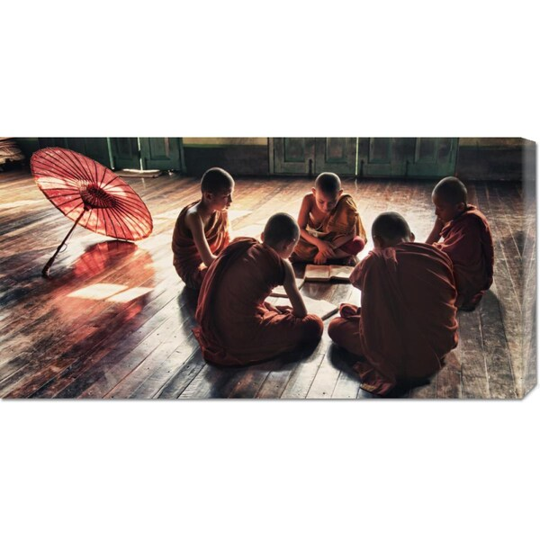 Scott Stulberg 'Young monks reading books in monastery' Stretched Canvas Art
