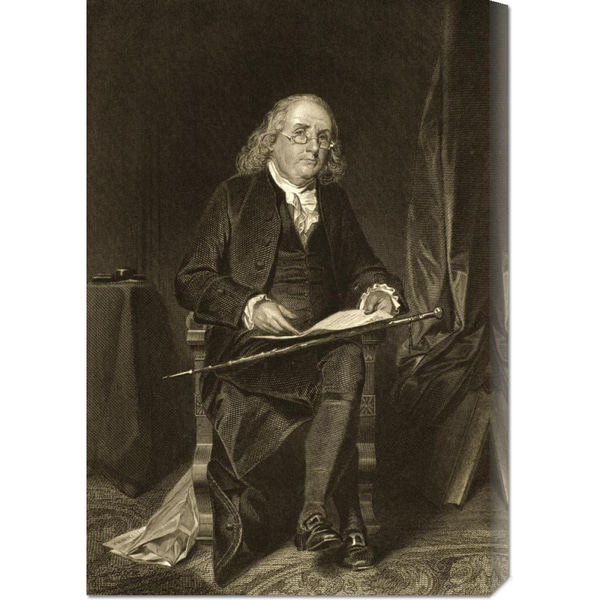 Unknown 'Benjamin Franklin (1706-1790)' Stretched Canvas Art