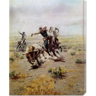 Charles M. Russell 'Cowboy Roping a Steer' Stretched Canvas Art