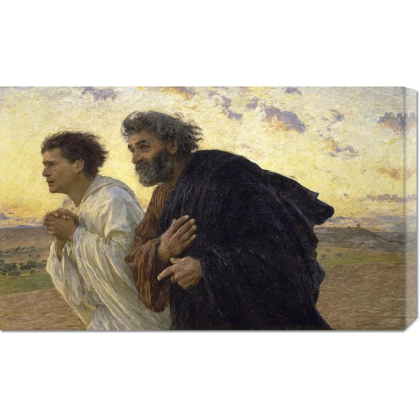 Eugene Burnand 'Disciples Peter and John Rushing To The Sepulcherthe Morning of The Resurrection' Stretched Canvas