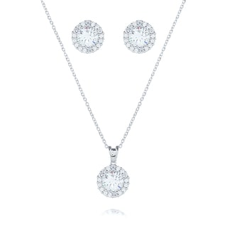Blue Box Jewels Rhodiumplated Silver Round-cut CZ Halo Jewelry Set