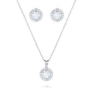 Blue Box Jewels Rhodiumplated Silver Round-cut CZ Halo Jewelry Set