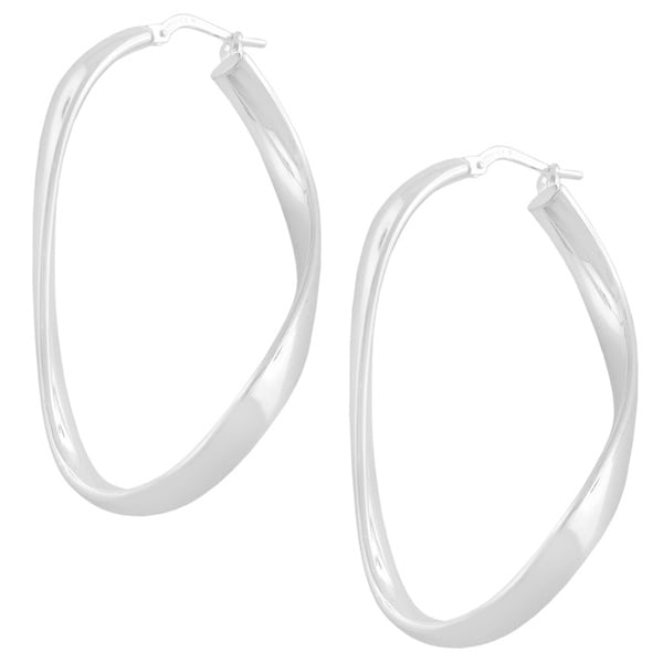 Fremada Sterling Silver Infinity Hoop Earrings