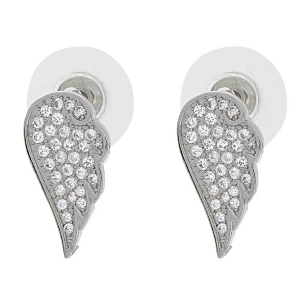 NEXTE Jewelry Silvertone Cubic Zirconia Angel Wing Stud Earrings