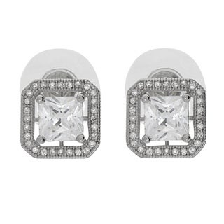 NEXTE Jewelry Silvertone Princess-cut Cubic Zirconia Stud Earrings