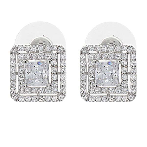 NEXTE Jewelry Silvertone Cubic Zirconia Double Square Halo Earrings