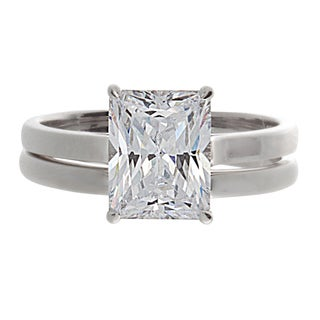 NEXTE Jewelry Silver Emerald-cut Cubic Zirconia 2-piece Ring Set