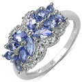 Malaika Sterling Silver 1 2/5ct TGW Tanzanite and White Topaz Ring