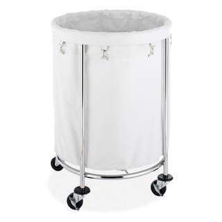 Whitmor White/ Chrome Round Laundry Hamper