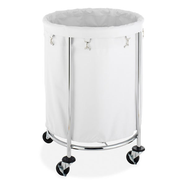 Whitmor White/ Chrome Round Laundry Hamper